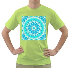 Blue Ice Goddess, Abstract Crystals Of Love Men s T Shirt (green)