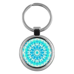 Blue Ice Goddess, Abstract Crystals Of Love Key Chain (round) by DianeClancy