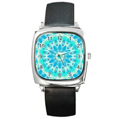 Blue Ice Goddess, Abstract Crystals Of Love Square Leather Watch