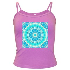 Blue Ice Goddess, Abstract Crystals Of Love Spaghetti Top (colored) by DianeClancy