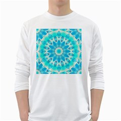 Blue Ice Goddess, Abstract Crystals Of Love Men s Long Sleeve T Shirt (white)