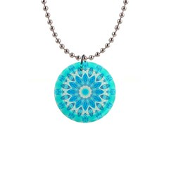 Blue Ice Goddess, Abstract Crystals Of Love Button Necklace