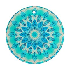 Blue Ice Goddess, Abstract Crystals Of Love Round Ornament (two Sides)