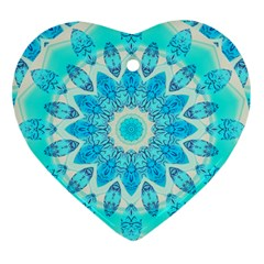 Blue Ice Goddess, Abstract Crystals Of Love Heart Ornament (two Sides) by DianeClancy