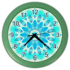 Blue Ice Goddess, Abstract Crystals Of Love Wall Clock (color)