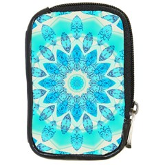 Blue Ice Goddess, Abstract Crystals Of Love Compact Camera Leather Case by DianeClancy
