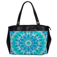 Blue Ice Goddess, Abstract Crystals Of Love Oversize Office Handbag (one Side)
