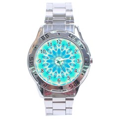 Blue Ice Goddess, Abstract Crystals Of Love Stainless Steel Watch