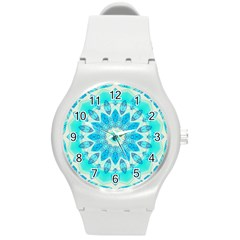 Blue Ice Goddess, Abstract Crystals Of Love Plastic Sport Watch (medium)