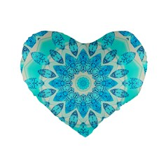 Blue Ice Goddess, Abstract Crystals Of Love 16  Premium Heart Shape Cushion