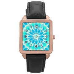 Blue Ice Goddess, Abstract Crystals Of Love Rose Gold Leather Watch