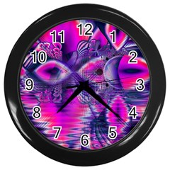 Rose Crystal Palace, Abstract Love Dream  Wall Clock (black) by DianeClancy