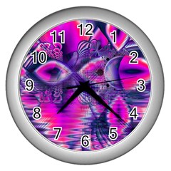 Rose Crystal Palace, Abstract Love Dream  Wall Clock (silver) by DianeClancy