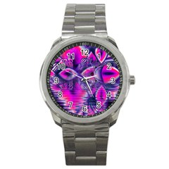 Rose Crystal Palace, Abstract Love Dream  Sport Metal Watch by DianeClancy