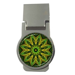 Woven Jungle Leaves Mandala Money Clip (round) by Zandiepants