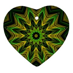 Woven Jungle Leaves Mandala Heart Ornament (two Sides) by Zandiepants