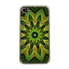 Woven Jungle Leaves Mandala Apple Iphone 4 Case (clear) by Zandiepants