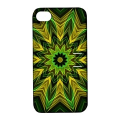Woven Jungle Leaves Mandala Apple Iphone 4/4s Hardshell Case With Stand by Zandiepants