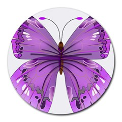 Purple Awareness Butterfly 8  Mouse Pad (round) by FunWithFibro