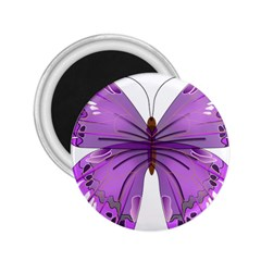 Purple Awareness Butterfly 2 25  Button Magnet by FunWithFibro