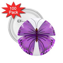 Purple Awareness Butterfly 2 25  Button (100 Pack) by FunWithFibro