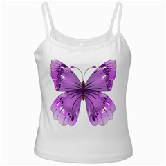 Purple Awareness Butterfly White Spaghetti Top by FunWithFibro