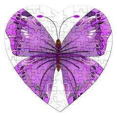 Purple Awareness Butterfly Jigsaw Puzzle (heart) by FunWithFibro