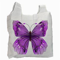 Purple Awareness Butterfly White Reusable Bag (one Side) by FunWithFibro