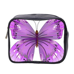 Purple Awareness Butterfly Mini Travel Toiletry Bag (two Sides)