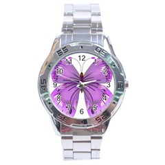 Purple Awareness Butterfly Stainless Steel Watch by FunWithFibro