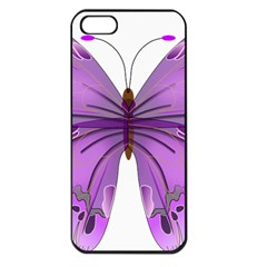 Purple Awareness Butterfly Apple Iphone 5 Seamless Case (black) by FunWithFibro