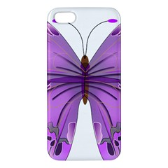 Purple Awareness Butterfly Iphone 5s Premium Hardshell Case by FunWithFibro