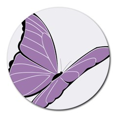 Purple Awareness Butterfly 2 8  Mouse Pad (round) by FunWithFibro