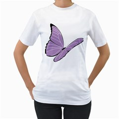 Purple Awareness Butterfly 2 Women s Two Sided T Shirt (white) by FunWithFibro