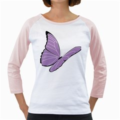 Purple Awareness Butterfly 2 Women s Long Cap Sleeve T-shirt (white)