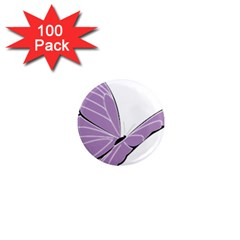 Purple Awareness Butterfly 2 1  Mini Button Magnet (100 Pack) by FunWithFibro