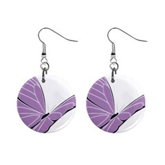 Purple Awareness Butterfly 2 Mini Button Earrings by FunWithFibro