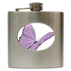 Purple Awareness Butterfly 2 Hip Flask by FunWithFibro