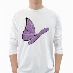 Purple Awareness Butterfly 2 Men s Long Sleeve T Shirt (white) by FunWithFibro
