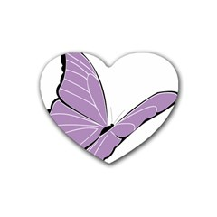 Purple Awareness Butterfly 2 Drink Coasters 4 Pack (heart)  by FunWithFibro