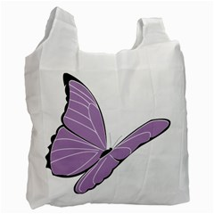 Purple Awareness Butterfly 2 White Reusable Bag (one Side) by FunWithFibro