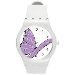 Purple Awareness Butterfly 2 Plastic Sport Watch (medium) by FunWithFibro