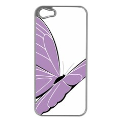 Purple Awareness Butterfly 2 Apple Iphone 5 Case (silver)