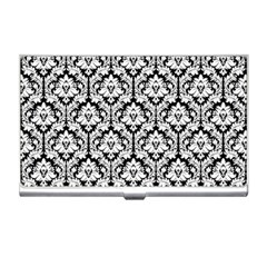 White On Black Damask Business Card Holder by Zandiepants