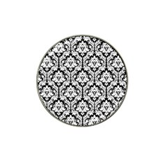 White On Black Damask Golf Ball Marker (for Hat Clip) by Zandiepants