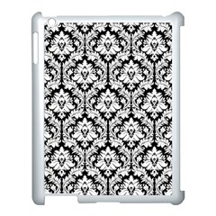 White On Black Damask Apple Ipad 3/4 Case (white) by Zandiepants