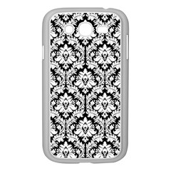 White On Black Damask Samsung Galaxy Grand Duos I9082 Case (white) by Zandiepants