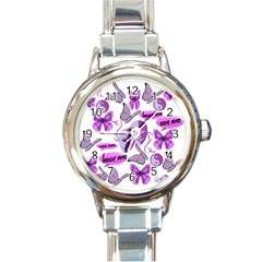 Invisible Illness Collage Round Italian Charm Watch by FunWithFibro