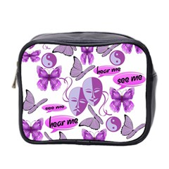 Invisible Illness Collage Mini Travel Toiletry Bag (two Sides) by FunWithFibro