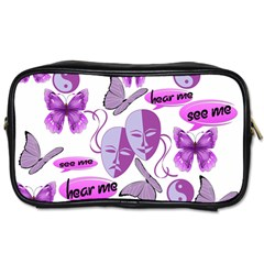 Invisible Illness Collage Travel Toiletry Bag (two Sides) by FunWithFibro